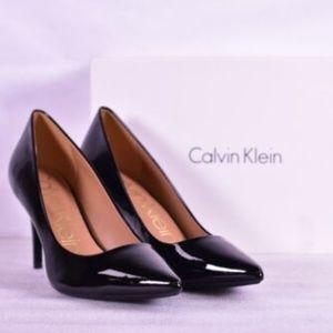 Calvin Klein Gayle Pointed Toe Black Patent Pumps